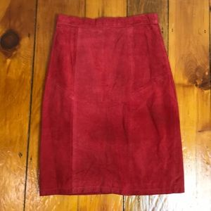 Tango Red Sueded Leather Pencil Skirt